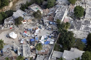 Aerial views of Haiti: A makeshift camp in Port-au-Prince