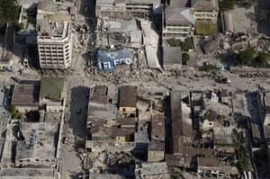 Aerial views of Haiti: Buildings in downtown Port-au-Prince, Haiti