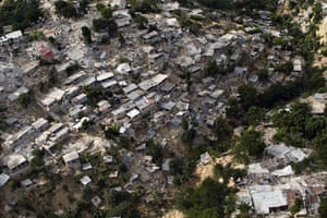 Aerial views of Haiti: Destroyed buildings the day after the earthquake in Port-au-Prince