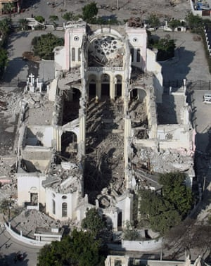 Aerial views of Haiti: Aerial view of the destroyed cathedral taken from an helicopter
