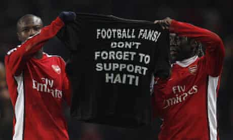 Arsenal players appeal to fans on behalf of earthquake striken Haiti