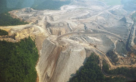 A large mountaintop coal mining operation in West Virginia