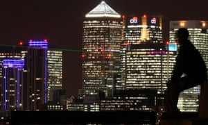 Canary Wharf: The Docklands skyline at night
