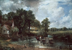 Black Poplars: The Hay-wain by John Constable featuring Black Poplar trees