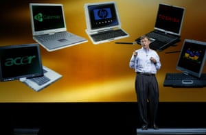 tablet gallery: 2003 Bill Gates with new Tablet PC Windows operating system Comdex