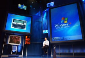 tablet gallery: 2002 Bill Gates Tablet PCs and Windows XP Tablet PC operating system