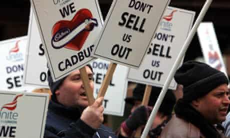 Cadbury staff protest at Kraft takeover