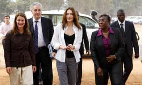 Global Fund Ambassador Carla Bruni-Sarkozy with Melinda Gates in Benin.