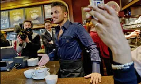 Peter Andre launches the flat white at Costa.