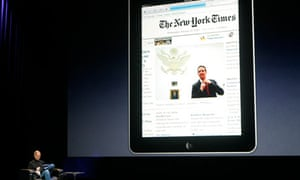 Apple iPad with the New York Times website on it.