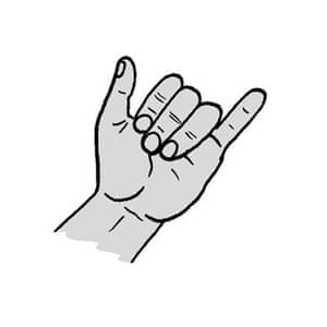 Mandarin Chinese gesture: the number Six