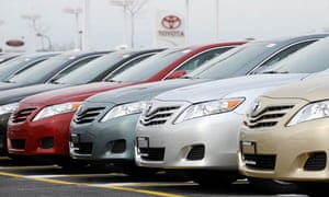 Toyota Camrys on US sales lot. Safety recall halted sales Jan 2010