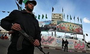Hamas security men patrol Gaza City