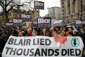 Chilcot protests: Demonstrators protest outside the Queen Elizabeth Conference Centre