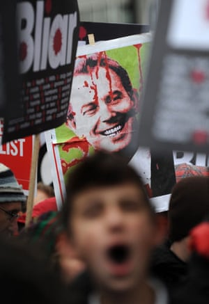 Chilcot protests: A protestor shouts slogans