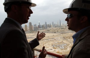 Burj Dubai: Men overlook the the foundations of Burj Dubai