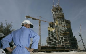 Burj Dubai: A construction worker at the Burj Dubai site