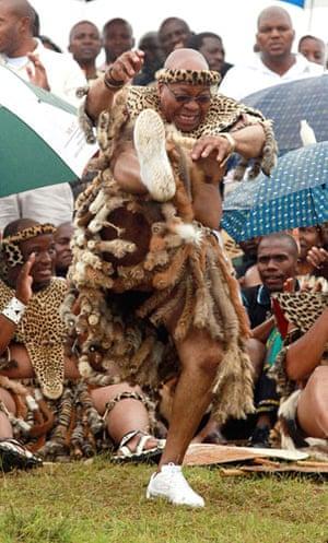 Jacob Zuma gets married: Jacob Zuma performs a high kick at his wedding