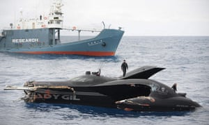 anti-whaling protest vessel after a confrontation with Japanese whaling vessel