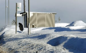 Winter weather: Denshaw, Oldham, 6 January: Snow drifts up to ten feet high at a bus stop