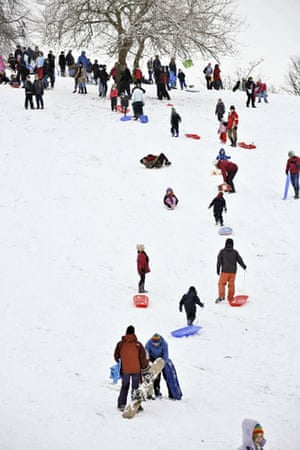 Winter weather: Bristol, Avon, 6 January: People enjoy sledging in the snow