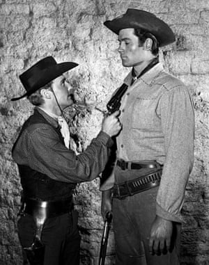 Dennis Hopper: Dennis Hopper and Clint Walker in a scene from ABC's Cheyenne in 1956