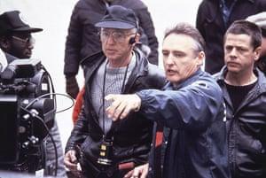 Dennis Hopper: Director Dennis Hopper with Haskel Wexler during the making of Colors