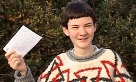 Arran Fernandez, 14, with his offer from Fitzwilliam College, Cambridge