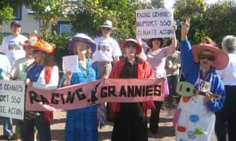 A group of raging grannies in protest