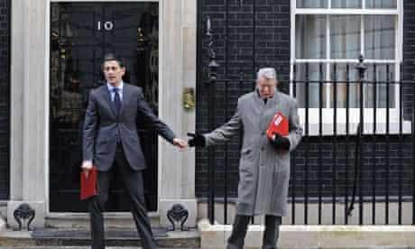 David Miliband and Alan Johnson outside No 10 Downing Street