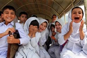 Swat: School children in their bus near Mingora in Swat, Pakistan