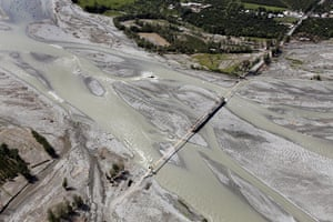 Swat: Aerial view of the Swat river six weeks after flash floods