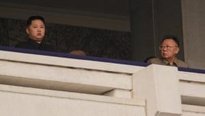 North Korea: Kim Jong-il and his son Kim Jong-un attend today's military parade