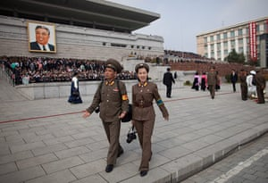 North Korea: The Kim Il-Sung Square after the end of the military parade.