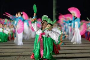 North Korea night square: Night dancing in Kim Il-Sung Square