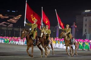 North Korea night square: Military guards in Kim Il-Sung Square