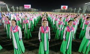Night dancing in Kim Il-Sung Square, North Korea