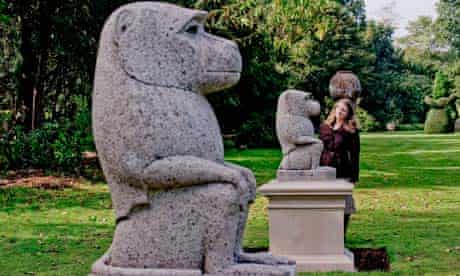 Ancient stone Gibbons are displayed at Cliveden House