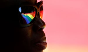 A banner is reflected in the sunglasses