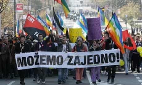 Gay pride march in Belgrade, 10 October 2010