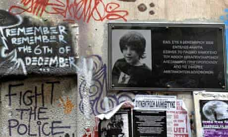 A plaque of Alexandros Grigoropoulos, who was shot by a Greek police officer in 2008