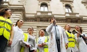 Science is Vital rally outside Treasury