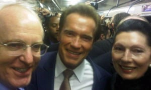 Arnold Schwarzenggger on the Moscow subway