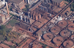 sludge: An aerial view shows the alumina plant from which the red mud burst