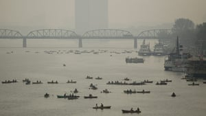 Dan Chung: North Koreans boating for pleasure on the river Taedong in Pyongyang