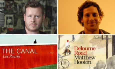 Lee Rourke, left, and Matthew Hooton with the covers of their books.