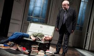 ory Kinnear as the prince, left, and David Calder as Polonius in Hamlet