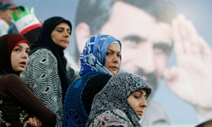 Lebanese women welcome Mahmoud Ahmadinejad to Beirut, October 2010