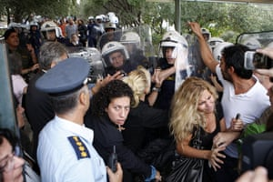 Protest at Acropolis: Protesters clash with police at the entrance to the Acropolis
