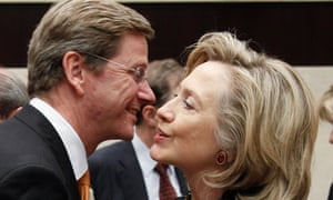 US secretary of state Hillary Clinton greets German foreign minister Guido Westerwelle